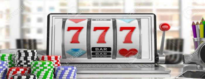 Description: 87572219-online-gambling-concept-slot-machine-on-a-laptop-screen-and-poker-chips-office-background-3d-illustr